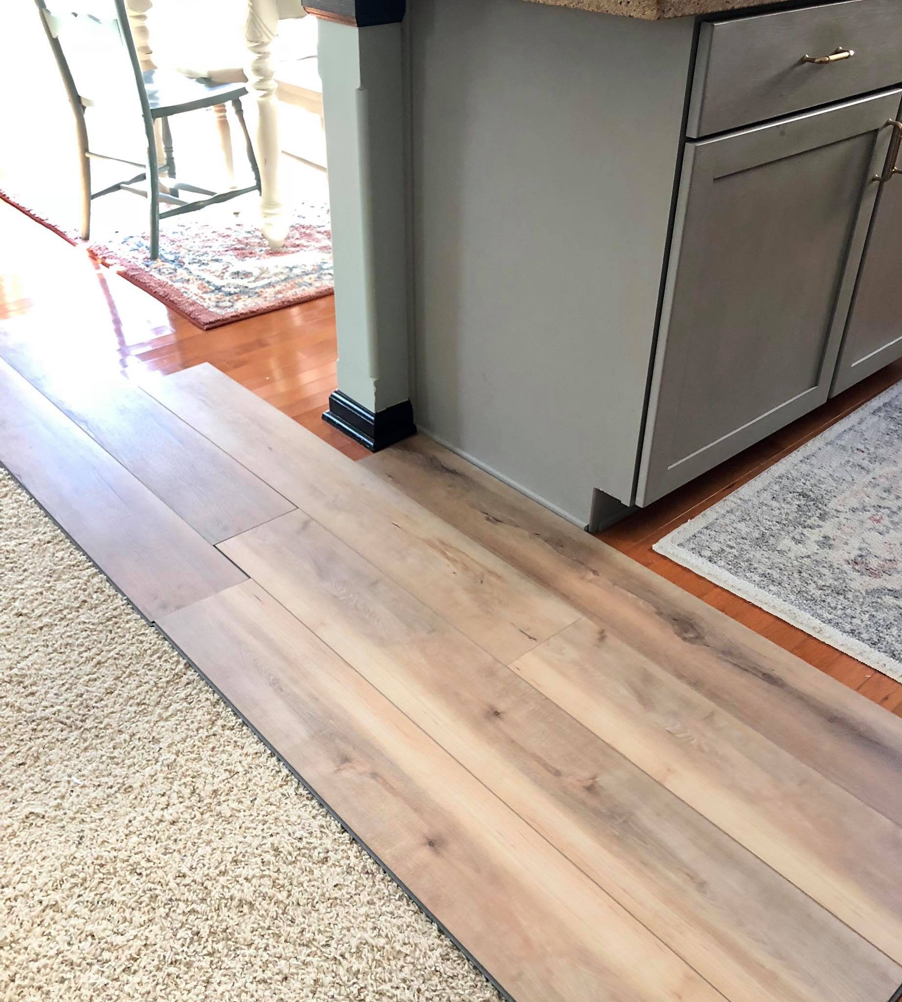Wood floor to Luxury Vinyl Tile makeover with tile inlay