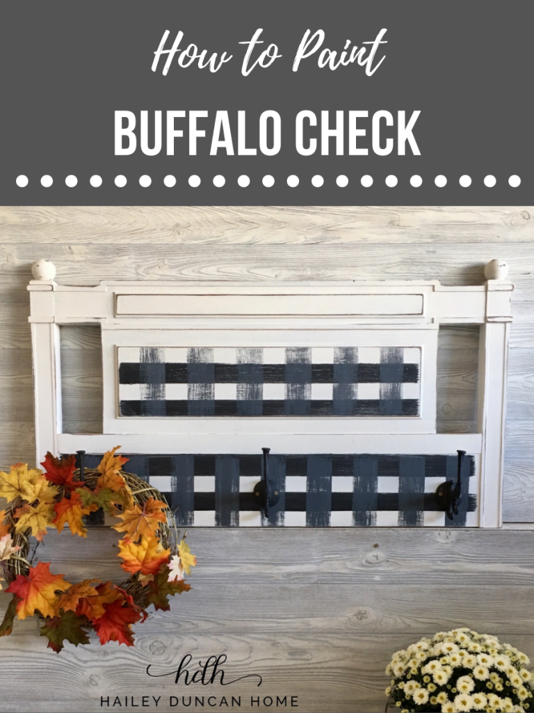 Buffalo plaid is popular this fall! Learn how to paint buffalo check on furniture with this video tutorial! #buffalocheck #buffaloplaid