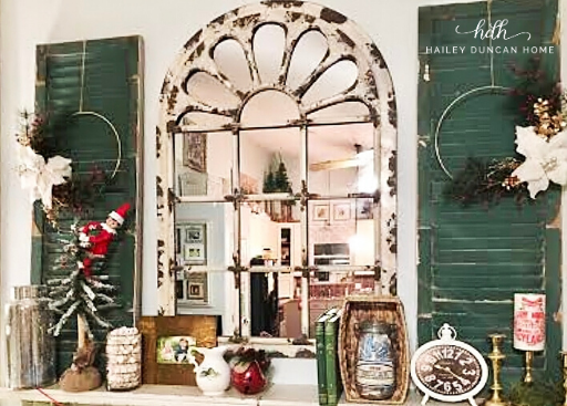 Christmas hoop wreaths displayed on shutters