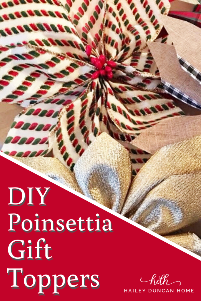 How to make DIY Poinsettia gift toppers for Christmas