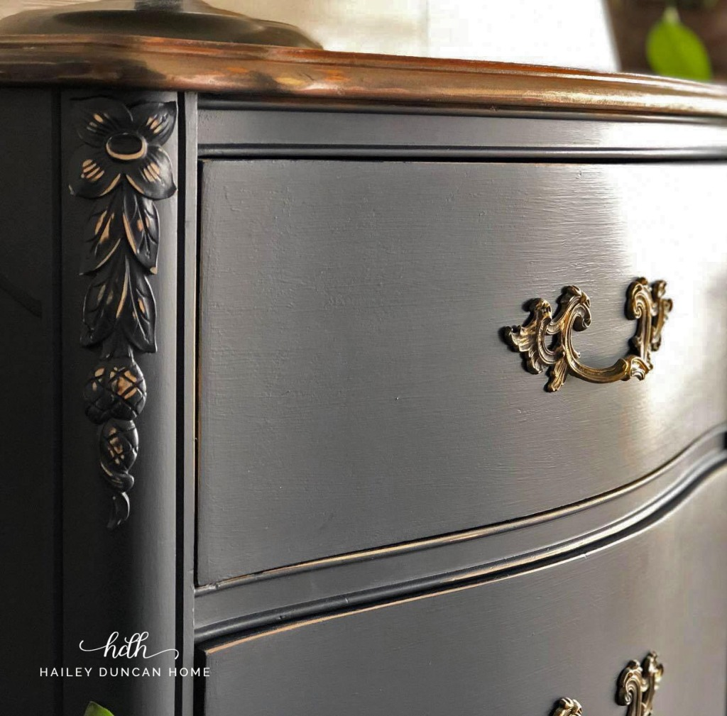 DIY painted dresser makeover in General Finishes coastal blue.