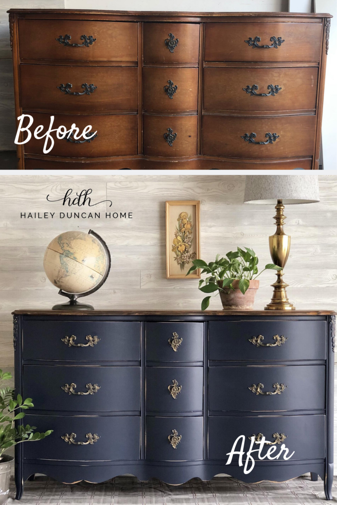 Navy Blue wins again! 💙 This DIY furniture makeover is stunning. This painted dresser was done in Coastal Blue by General Finishes.