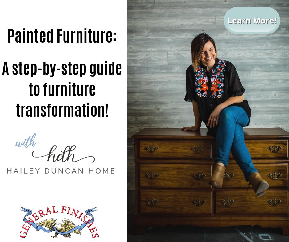 Woman sitting on unpainted dresser.