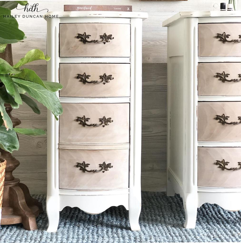Painted nightstands from old desk. White base with whitewashed drawers.