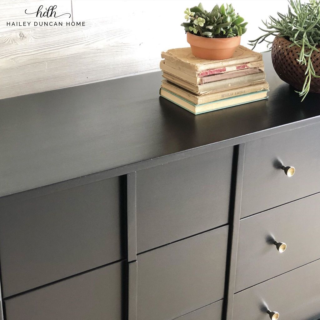 Mid Century Modern Dresser painted in Wise Owl Paint Jet Black by Hailey Duncan Home