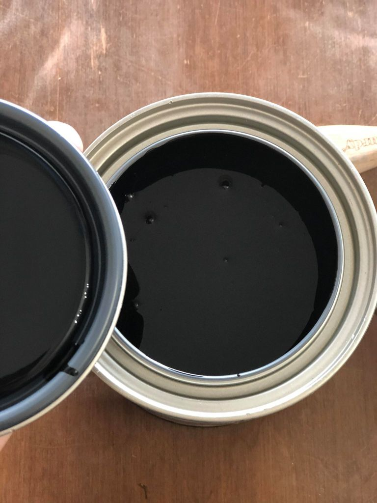 Open can of Wise Owl Paint Jet Black One Hour Enamel