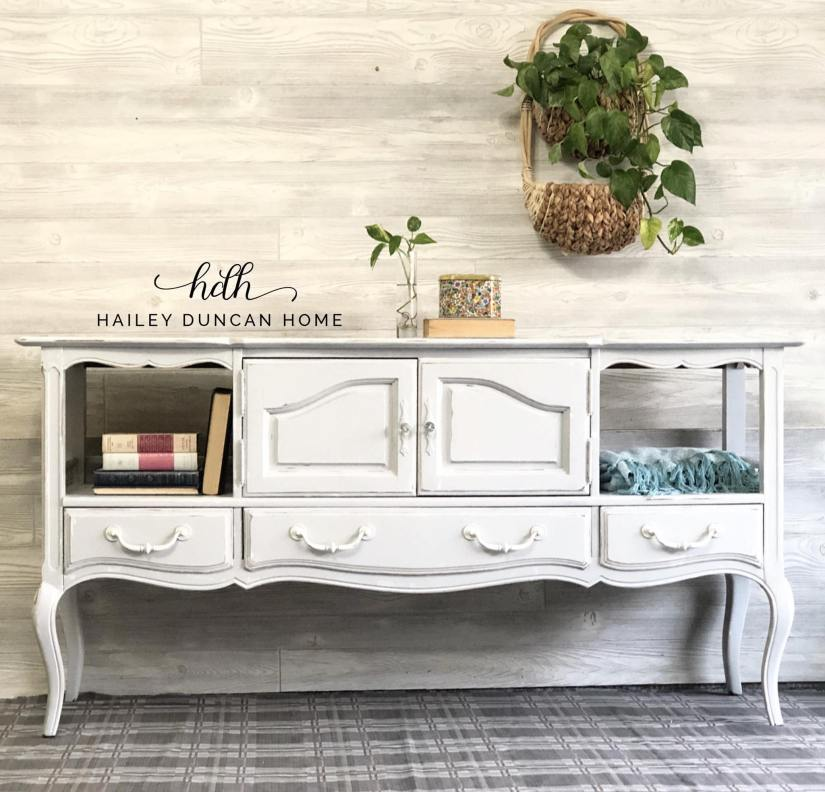 White painted buffet that could be used as a sofa table